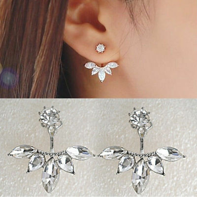 Silver Gold Plated LEAF Crystal Double Sided Earrings | FREE Shipping UK