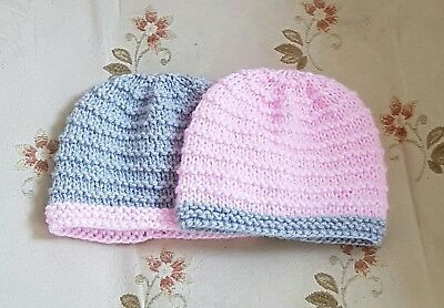 Pack of 2 premature   hand knitted baby Hat  to fit 31b to 5.5 1b baby