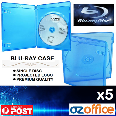 Australian Standard 5 x Single Blu Ray Case PS3 Game Case PS3 Cover BluRay 14mm