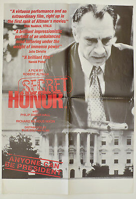 SECRET HONOR (1984) Cinema Film Poster - Robert Altman, Philip Baker Hall, Nixon