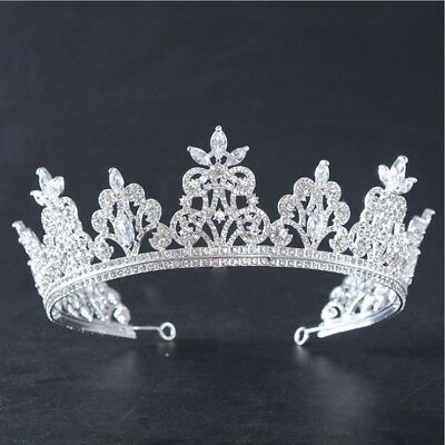 Luxury Sparkling Big CZ & Crystal Full Crown Bridal Party Pageant Prom Tiara