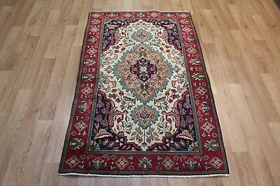 Old Hand Made Persian Traditional Tabriz rug Oriental carpets 5'4 x 3'4 FT