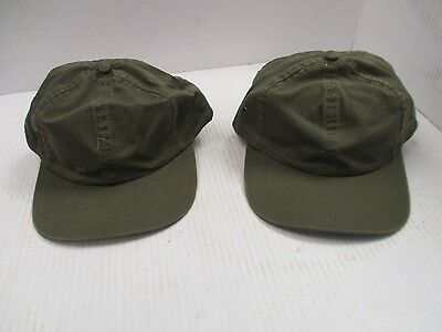 ONE PAIR OF NEW-VINTAGE Dk OD Green Caps/Hats-6 panel-Metal Eyelets-Buckle[3127