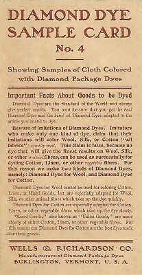 Burlington Vermont Wells & Richardson Co. Vintage Diamond Dye Sample Card No. 4