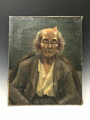 Vintage Oil on Canvas Portrait of an Old Man Painting Signed By George J Sher