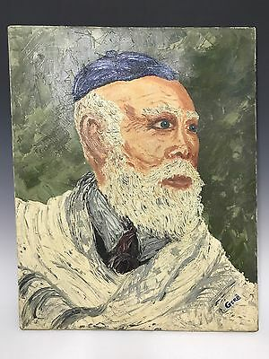 Vintage Oil on Canvas Portrait of a Rabbi Painting Signed by GERO