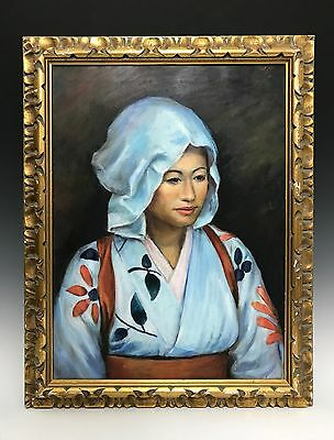 Vintage Oil on Board Portrait of a Asian Maiden Lady Painting Signed by J. Lowe