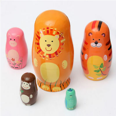 Set of 5 Cute Wooden Nesting Dolls Hand Matryoshka Animal Russian Doll Painted
