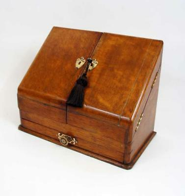 Elegant  Edwardian Oak table top stationary box with drawer