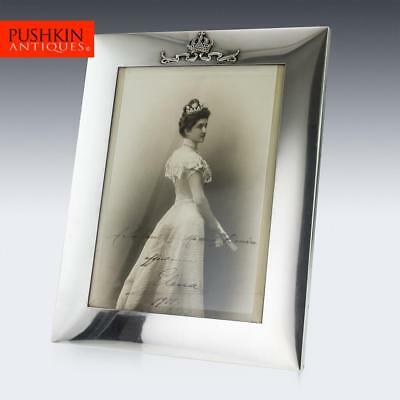 ANTIQUE 20thC ITALIAN ROYAL SOLID SILVER LARGE PHOTO FRAME, MUSY c.1900