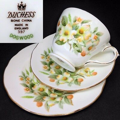 Duchess c1960s Dogwood Vintage English Bone China Trio Set Cup Saucer Plate