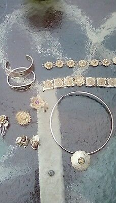 Huge Vintage Taxco Mexican Filigree Sterling Silver Jewelry Lot