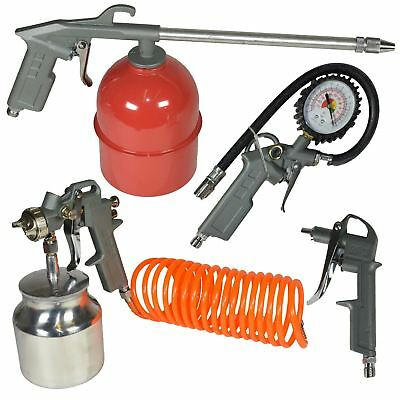 Compressor Air Accessory Tool Kit Spraying Tyre Inflating Hose Blow Gun 5pc Se
