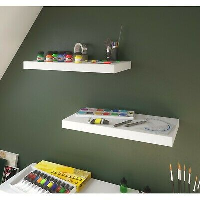 WHITE High Gloss Floating Wall Shelving Shelf Storage Children Display Bookcases