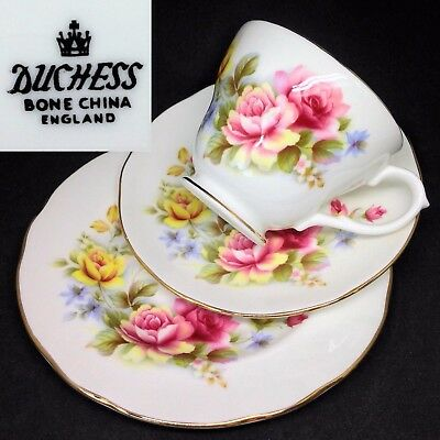 Duchess c1960s Pink Yellow Pastel Roses English Vintage Bone China Trio Set