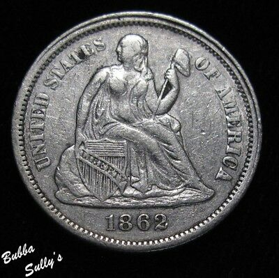 1862 Seated Liberty Dime <> EXTREMELY FINE