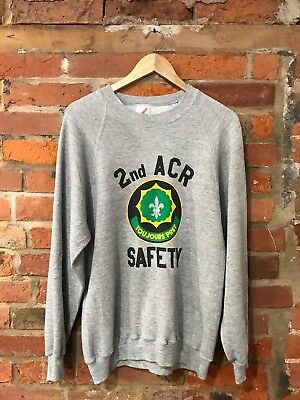 VINTAGE 90s SWEATSHIRT USA 2nd ACR SAFETY ARMY (VS11) OVERSIZED/ SIZE 12-14 M