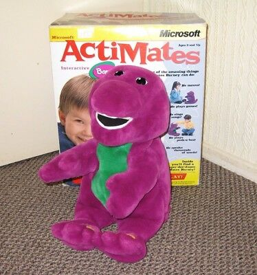 Vintage ActiMates Barney Purple Dinosaur Interactive Plush Toy Microsoft Boxed