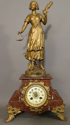 19thC Antique FRENCH Chauvin VICTORIAN Weaver LADY STATUE MARBLE Mantel CLOCK