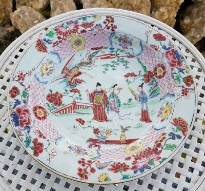 Chine Assiette Ancienne Porcelaine Famille  Rose Antique Chinese Plate Vase