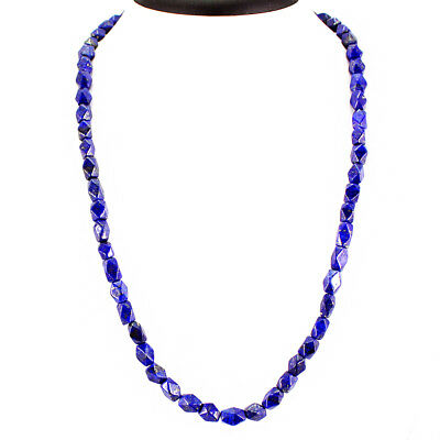 Most Excellent 192.00 Cts Natural Blue Lapis Lazuli Untreated Beads Necklace