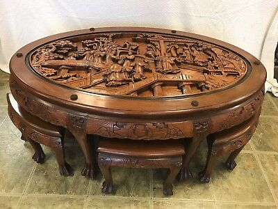 Hand Carved Asian Tea Table with Six Stools