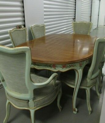 Vtg Mid Century WIDDICOMB Country French Provincial Table 6 Chairs Leaves