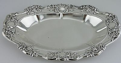 Vintage Silver Plate Oval Serving Dish Tray Rose Flowers Embossed Ornate Towle