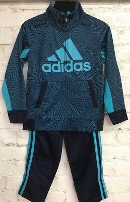 Adidas Boys Tricot Track Suit Zip up Jacket and Pant Set - Cosmic Blue - 6 Sizes