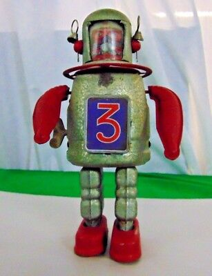 Vintage Astro Scout 3 Type Tin Metal Friction Robot WORKS