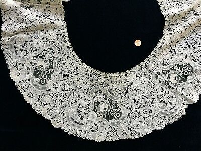 19th C.  Brussels Duchesse Point de Gaze LACE Berthe collar  BRIDE COLLECTOR