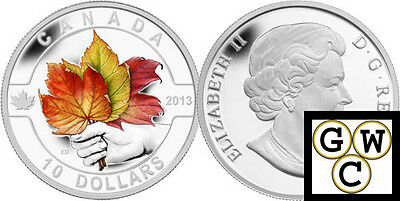 2013 'Maple Leaf-O Canada Colorized Proof $10 Silver Coin .9999 Fine (13128)(NT)