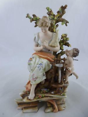 Antique German VOLKSTEDT  Porcelain Figure ~ WOMAN SEATED AT A SPINNING WHEEL