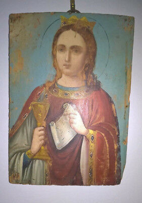 Antique Hand-Painted Icon Of St.barbara