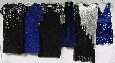 Lot of 20 Vintage 80s Sequin Dress Beaded Mini Maxi New Years NYE Sparkle NWT