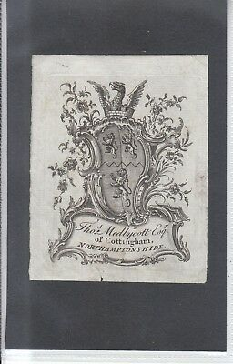 Ex Libris Chippendale  Armorial  Bookplate: THOMS. MEDLYCOTT ESQ of COTTINGHAM.
