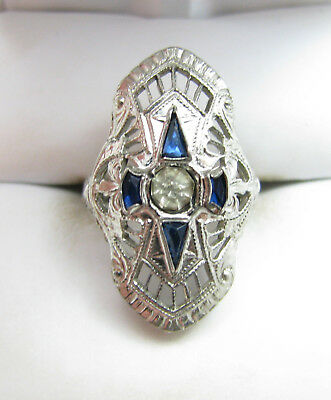 Antique Art Deco Sterling Silver Filigree Blue & Clear Stone Ring Sz 3.25