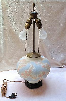 Beautiful Antique Consolidated Swallows Lamp - Tri Color On Satin Milk Glass