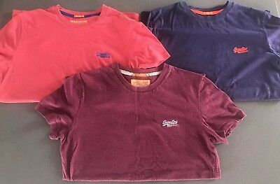 3x Men's Superdry T Shirts - Size Small - Coral / Purple / Burgundy Red
