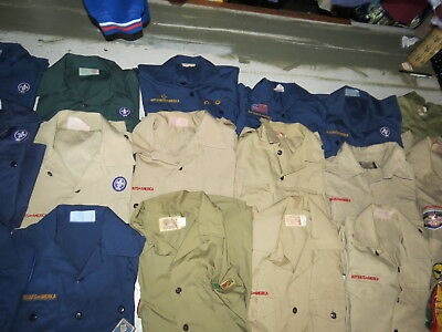 Lot Of 28 Boy Scouts Uniform Shirts Weeblos Cub Scouts 15 Youth & 13 Adult Vtg