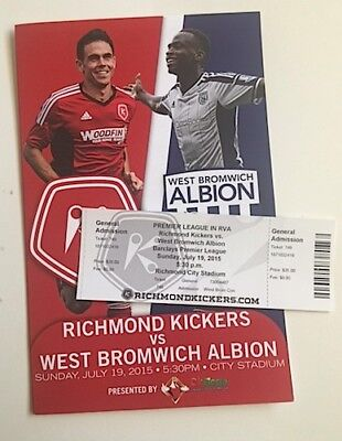 WBA 2015 USA TOUR PROGRAMME & TICKET v RICHMOND KICKERS
