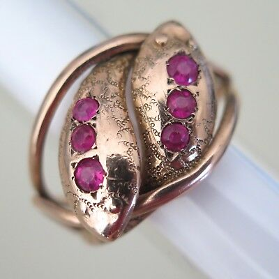 Antique Victorian Edwardian 9ct 9k Rose Gold Two Snake Entwined Ruby Wide Ring