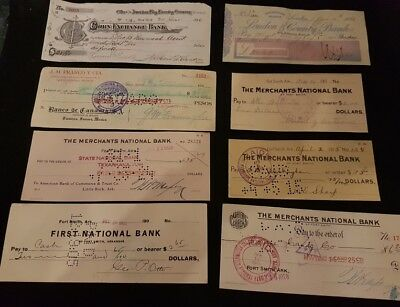 Old bank cheques x8