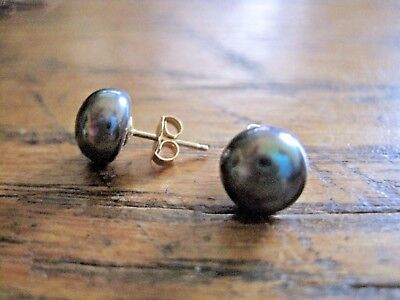 Retro 14K Yellow Gold Genuine Black Pearls Post Stud Earrings 9 - 10 Mm
