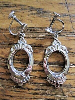 Retro Vintage Sterling Drop Dangle Shiny Screw Back Earrings Mint 4.3 Gr