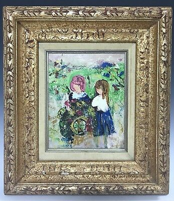 Vintage Abstract Portrait of Two Girls Oil on Masonite Board