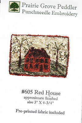 Prairie Grove Peddler  Red House  Punch needle embroidery pattern on fabric