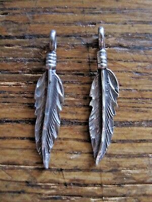 Retro Vintage Sterling Drop Feather Dangles For Earrings Necklace Charms 1.6 Gr