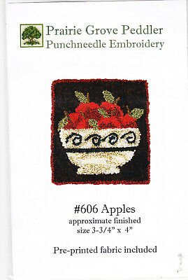Prairie Grove Peddler Apples Punch needle embroidery pattern on fabric