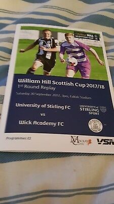 Stirling University V Wick Academy Scottish Cup Replay Sat 30Th Sep 2017.mint.